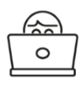 line drawing of a person behind a laptop