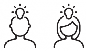 drawing of two people's heads with light bulbs, representing their good ideas