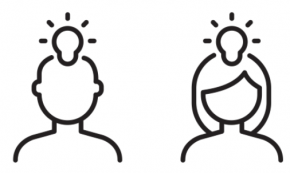line drawings of two people's heads with lightbulbs above them