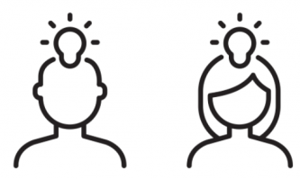 line drawing of two people with light bulbs above their heads