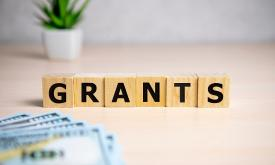 The word GRANTS spelled with blocks, with a plant and dollar bills around it