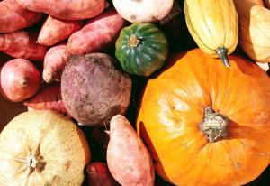 pumpkins, squash, and potatoes