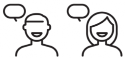 two line drawings of people with conversation bubbles