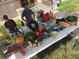 Two growers sell vegetables at a farmers' market