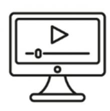 line drawing of a computer screen playing a video
