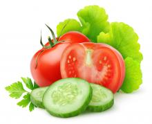 lettuce and cut tomatoes and cucumbers