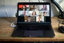 laptop with a video conference image