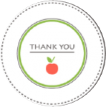 words 'thank you' with an apple