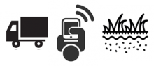 line drawings of a truck, a person with a smart phone, and a field