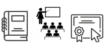 line drawings of a binder, a training, and an online certficate