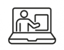 line drawing of a person appearing on a computer screen